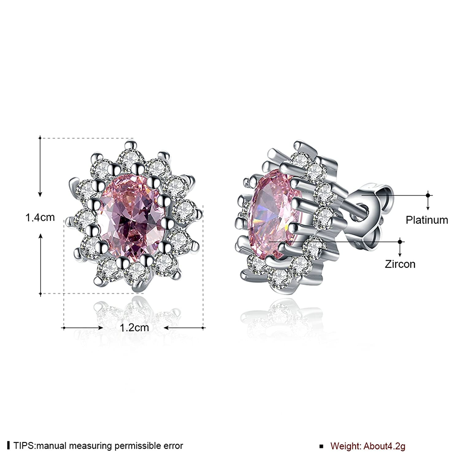 AmDxD Jewelry Silver Plated Stud Earrings for Women Oval Pink 12X14MM