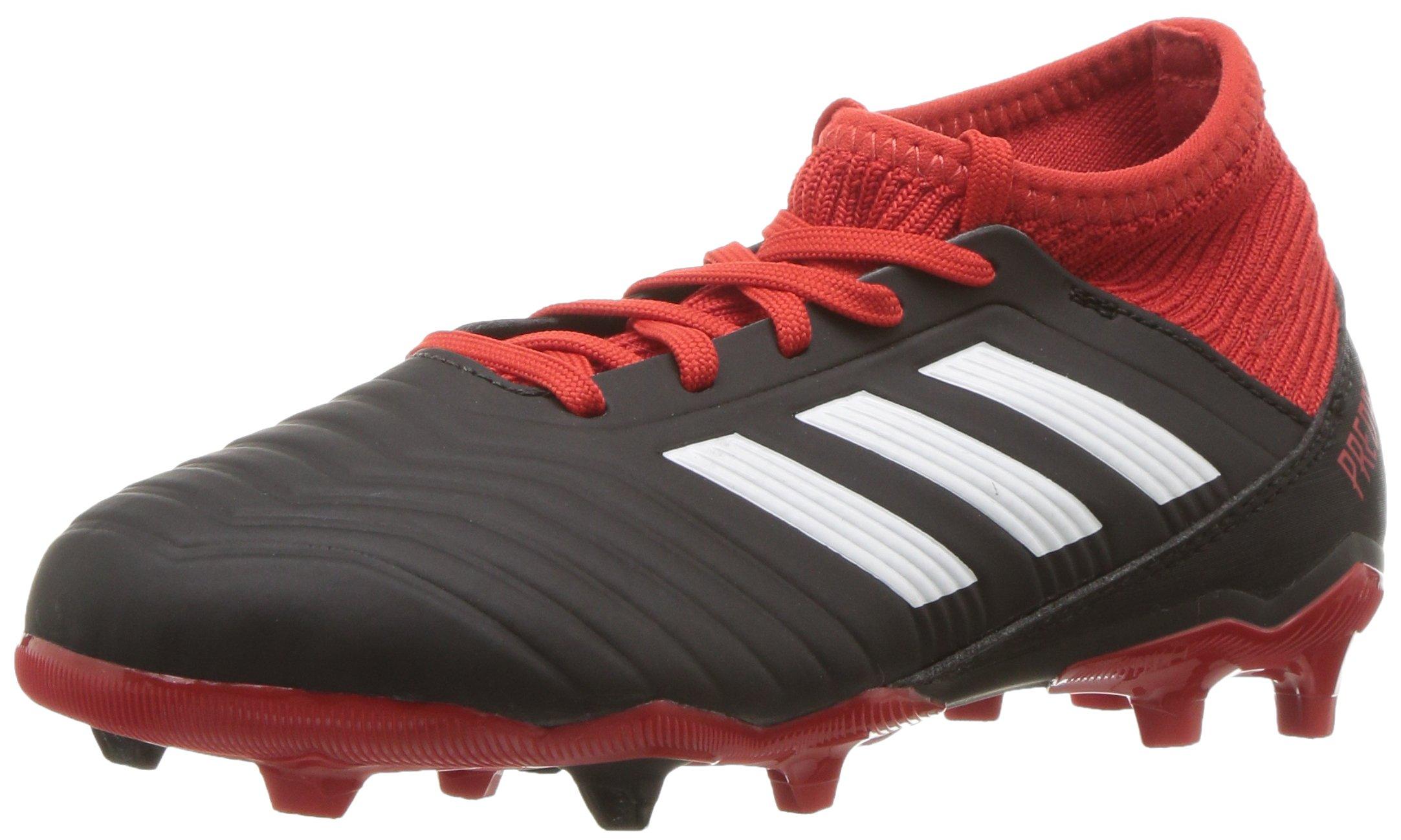 adidas Unisex Predator 18.3 Firm Ground Soccer Shoe, Black/White/red, 5.5 M US Big Kid