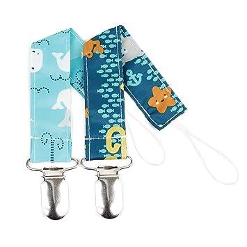 Bumkins Pacifier Clip 2 Pack, Boy (B90-Sea Friends/Whales)