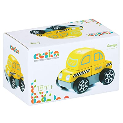 Wise Elk - Wooden Taxi Car Toy - Early Development Stacking Play for Babies or Infants – Non-Toxic & Safe Colors – Made from Premium Wood: Toys & Games
