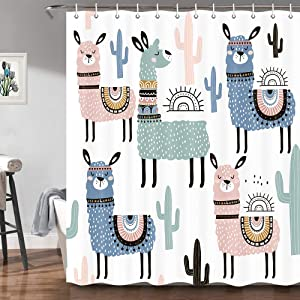 JAWO Cute Lama Alpaca Shower Curtains for Bathroom, Fun Kids Cartoon Animals Colorful Llama Cactus Bath Decor Fabric Shower Curtain, 69X70 Inch Package Include 12 Pack Plastic Hooks