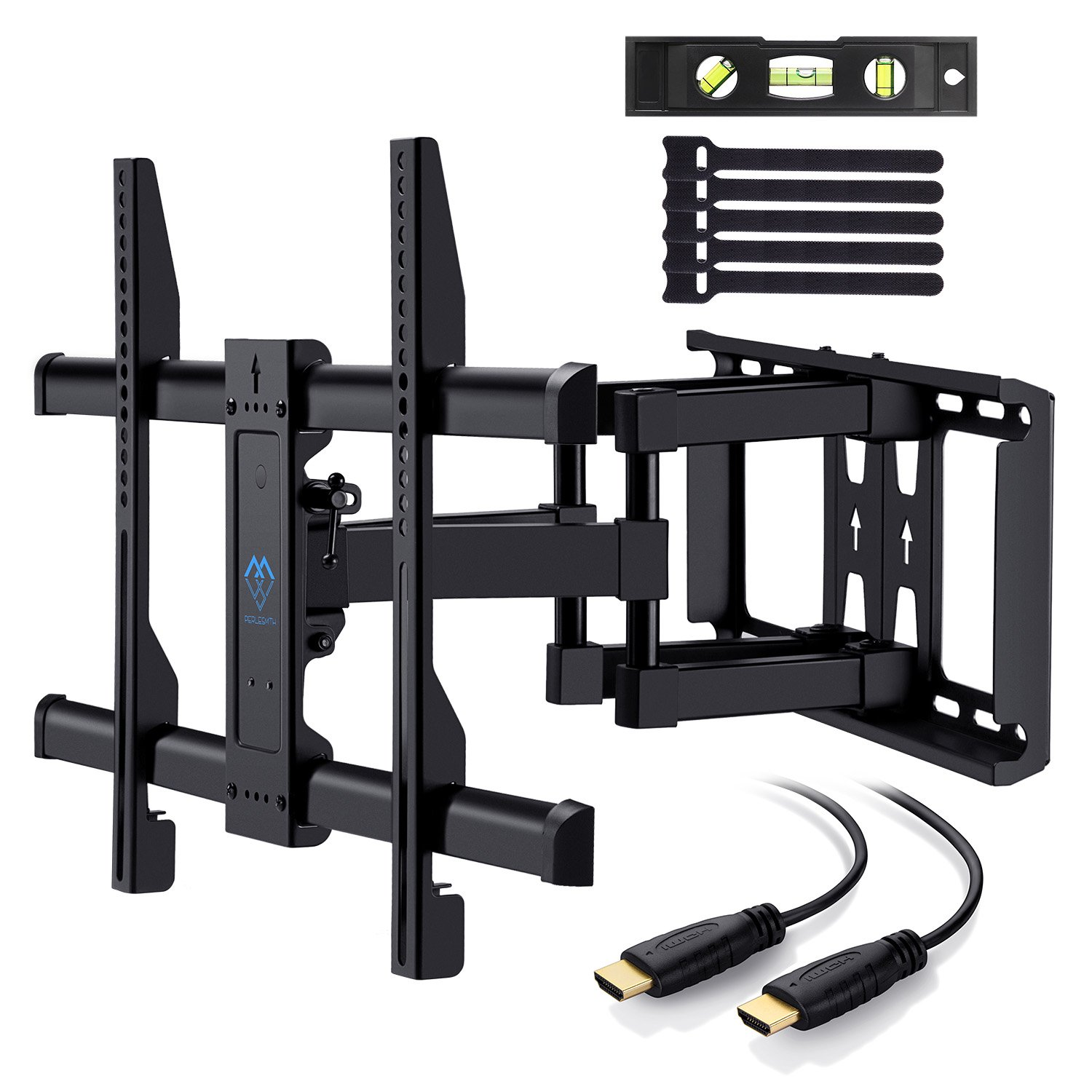 Perlesmith Tv Wall Mount Bracket Full Motion Dual Articulating Arm For Most 37 70 Inch Led, Lcd, Oled, Flat Screen,Plasma T Vs Up To 132lbs Vesa 600x400mm With Tilt, Swivel And Rotation Hdmi Cable by Perlesmith