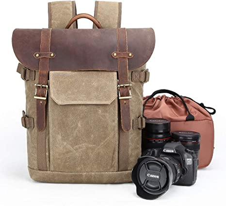 YWSYJ Camera Bag Canvas SLR DSLR Camera Backpack Large Capacity Front Open Waterproof Anti-Shock Camera Rucksack Camera Travel Bag Professional Camera Lens Organizer 3 Color Option