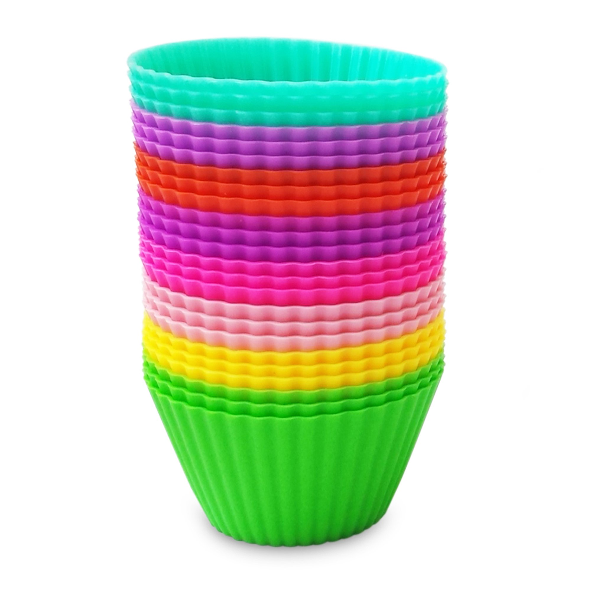 Silicone Baking Cups - Premium Quality - Non-Stick - Best 24 Cupcake Liners - Special Gift Packaging - Bonus Ebook - Enjoy by VMV Products