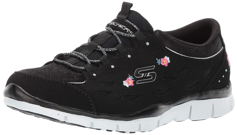 Bkw=black White Skechers Womens Gratis - Divine Bloom Sneaker