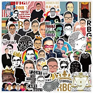50 Pack Waterproof Removable RBG Stickers Ruth Bader Ginsburg Sticker Decals for Laptop, Luggage, Travel Mug, Tumbler, Car, Bike, Guitar and More
