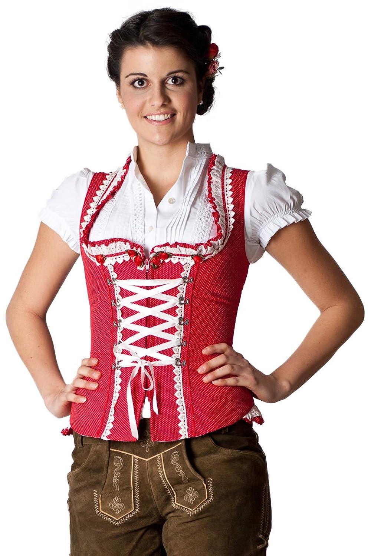 Ludwig und Therese Damen Trachten Mieder Marta D090013 (Rot)