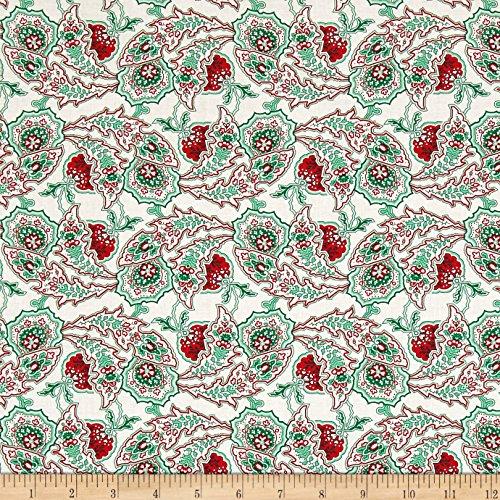 (FreeSpirit Fabrics Verna Mosquera Peppermint Rose Paisley Path Dove Fabric by The Yard)