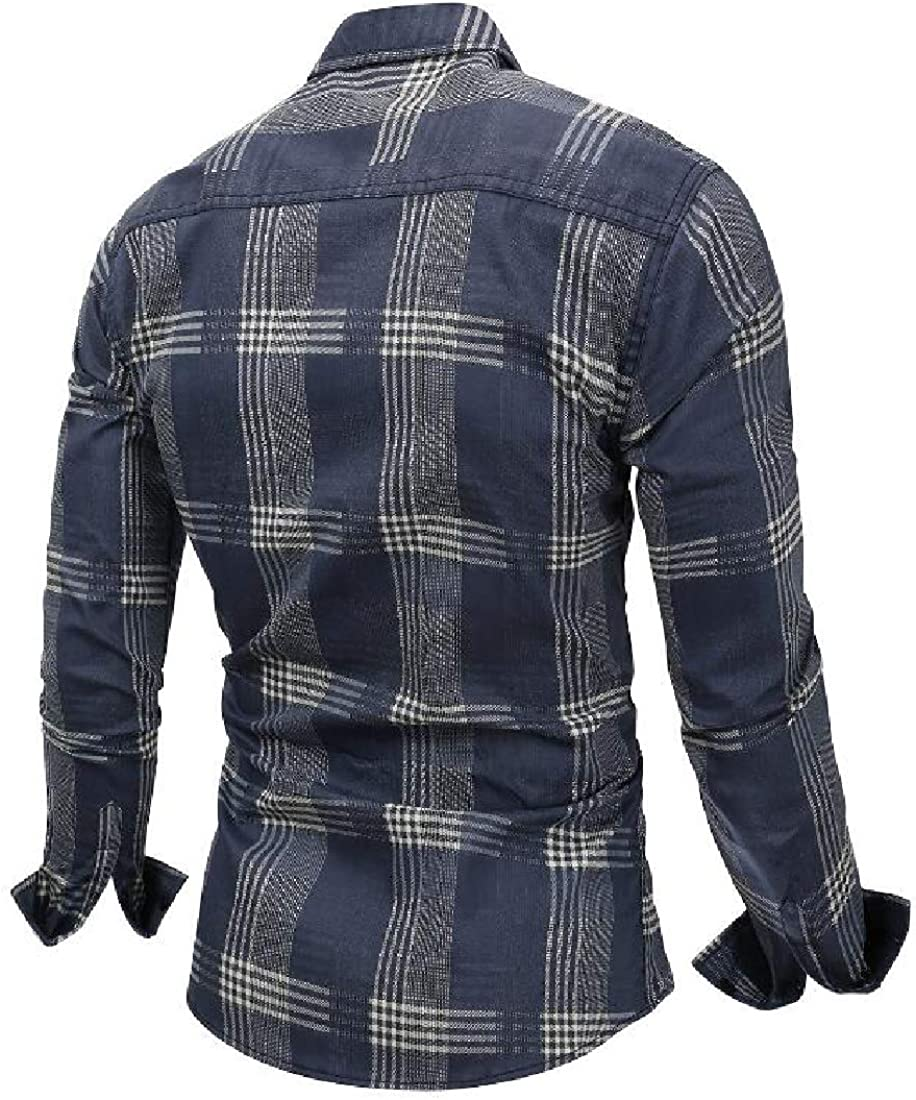 HTOOHTOOH Mens Cotton Long Sleeve Plaid Regular Fit Button Down Dresses Shirt