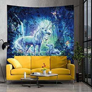 Jhdstore Unicorn Tapestry Elf Forest Unicorns Tapestry Wall Art Hanging Decorative Fantasy Elves Tapestries Polyester Bedspread Hippie Bohemian Wall Home Decor for Bedroom (51x59inch, Unicorns Forest)