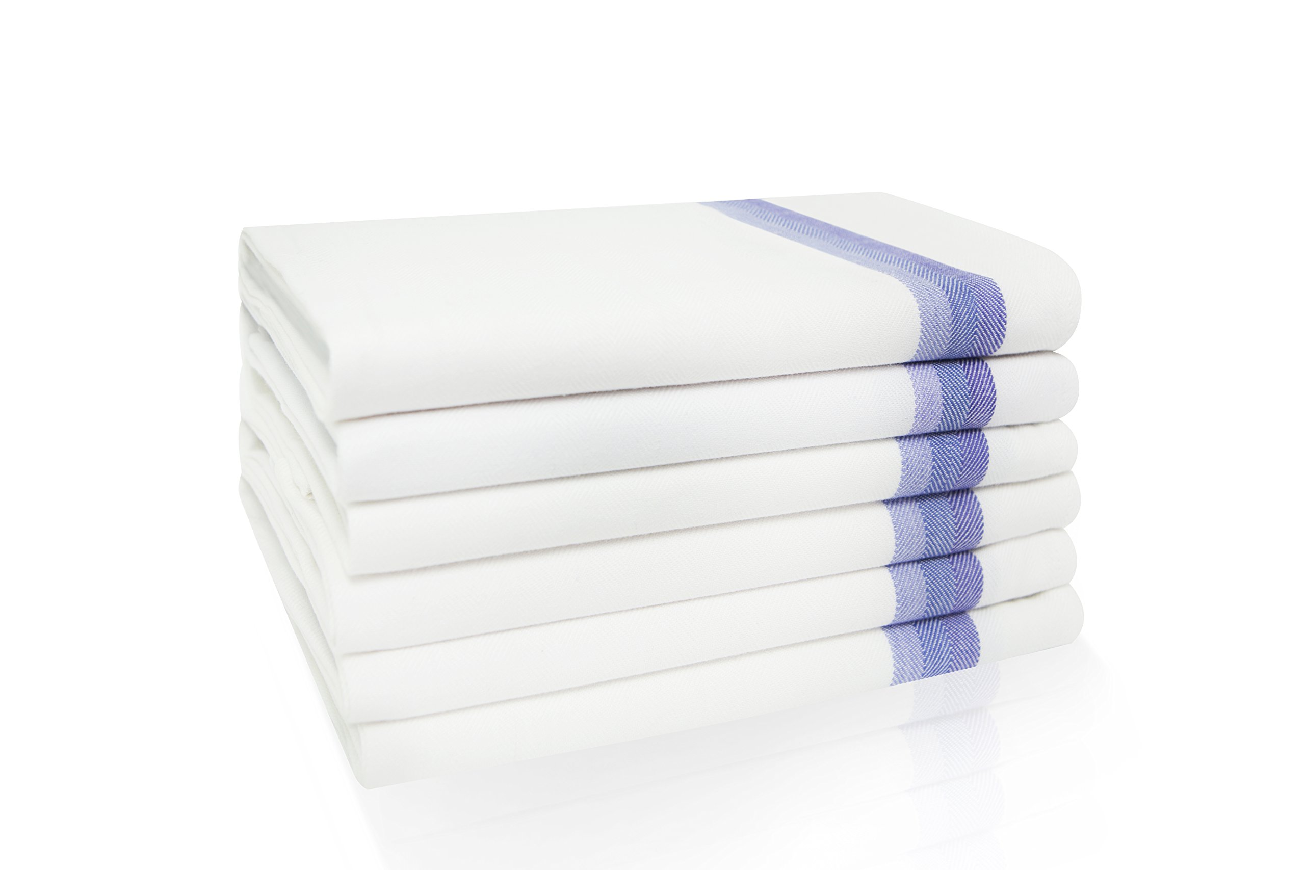 Harringdons Kitchen Dish Towels Set of 6 - Tea Towels 100% Cotton. Large Dish Cloths 28''x20'' Soft and Absorbent. White with Blue Stripes. There's no Substitute for Quality.