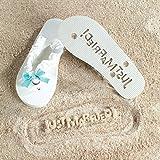 32601e167 JUST MARRIED Imprint Flip Flops 9 10 Bridal Shower Gift Beach Wedding Bride  White Fun