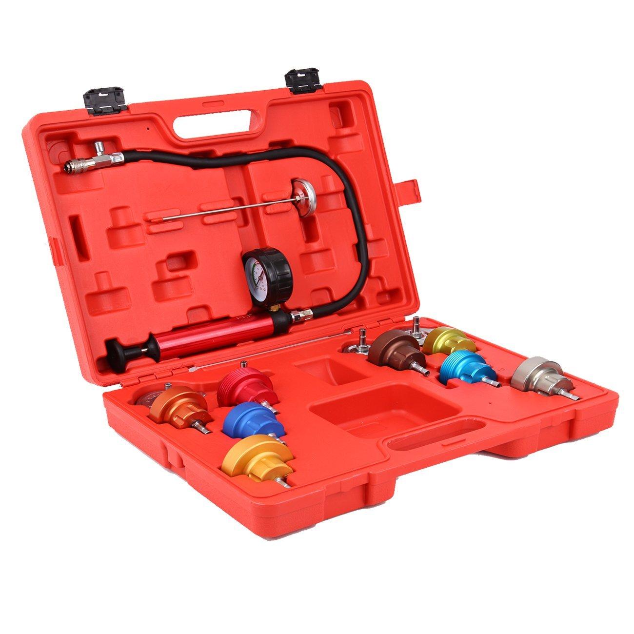 Ridgeyard 14pc Universal Car Radiator Pressure and Vacuum Tester Cooling System Tester Head Gasket Leak Detector Kit
