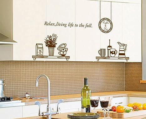 ufengke® Personalizzato Vasellame da Cucina Adesivi Murali, Tazze e Ciotole  Thermos Adesivi da Parete Removibili/Stickers Murali/Decorazione Murale ...