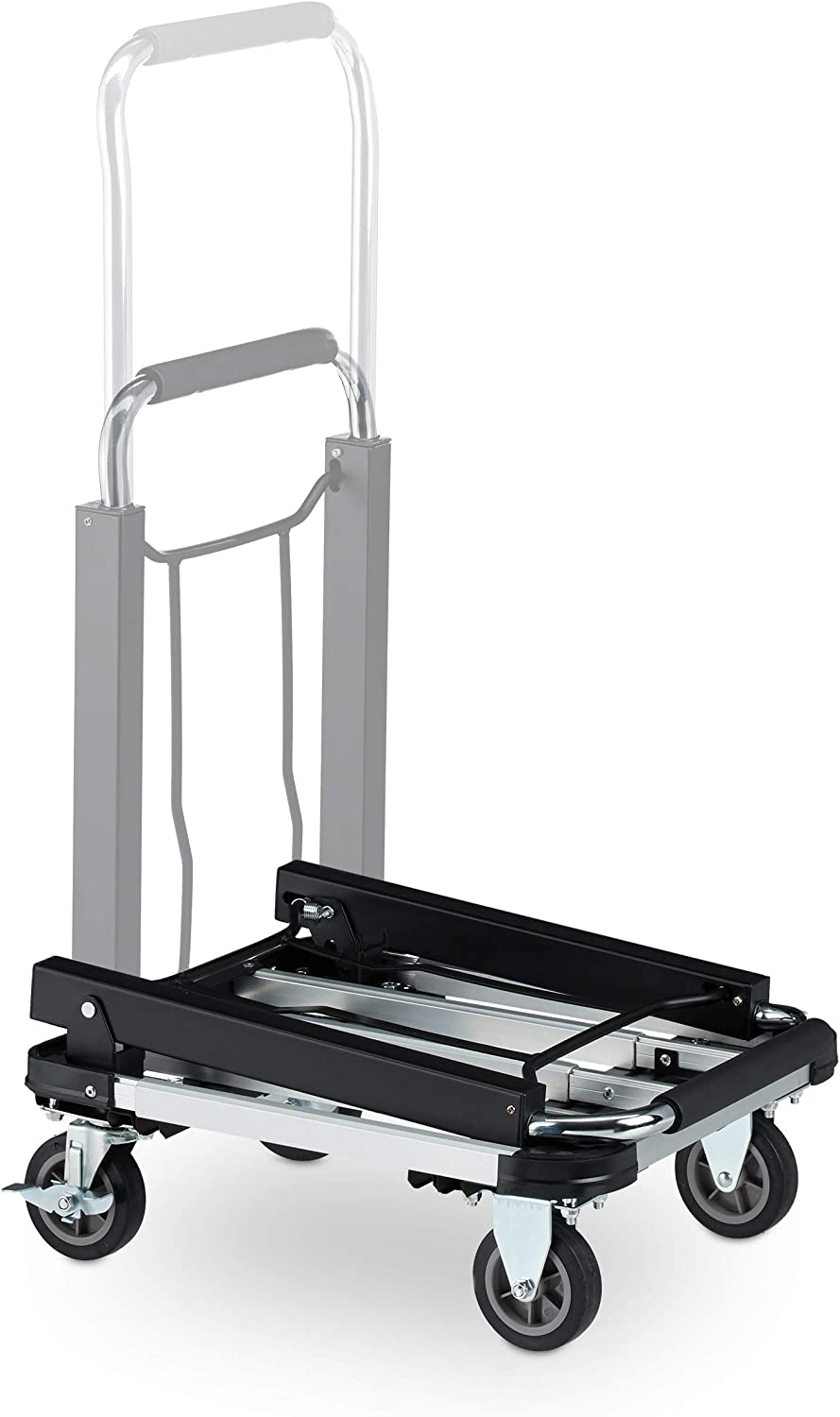 Folding Hand Trolley Pack of 1 Extendable /& Height-Adjustable Black Platform Truck Relaxdays 10029574 Wheels with Brakes Up to 100 kg