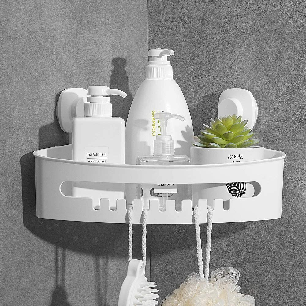Corner Shower Basket Suction Cup Luxear Bathroom Caddy Wall Mounted Shower Shelf Bathroom Rack Bathroom Shelf Organizer Wall Mounted No-Drilling Removable Plastic Organizer For Bathroom Shower Kitchen