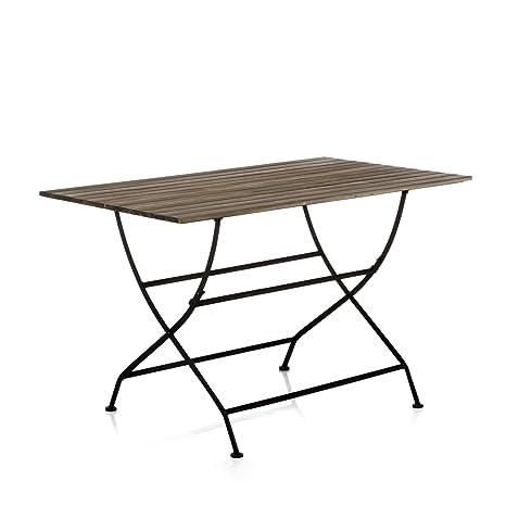 Alinéa Montego Table Pliante en Fer forgé et Acacia Naturel ...