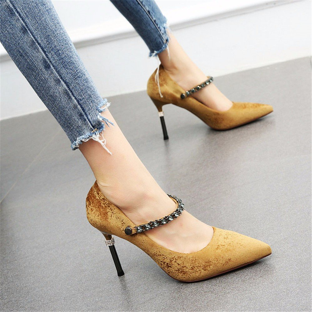 A YMFIE Européenne tempérament Sexy Strass Stiletto Peu Profonde Bouche Partie Talons Hauts Dames Simples Chaussures 34 EU