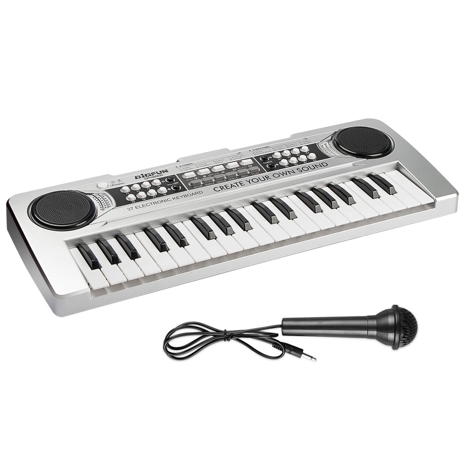 Aiyou Kids Piano Keyboard 37 Keys Portable Electronic Musical Instrument Multi-Function Keyboard Teaching Toys Birthday Christmas Day Gifts for Kids (Silver)