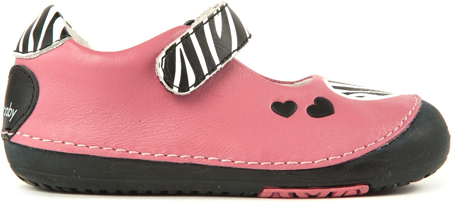 Momo Baby Girls First Walker Toddler Zebra Hearts Mary Jane Leather Shoes