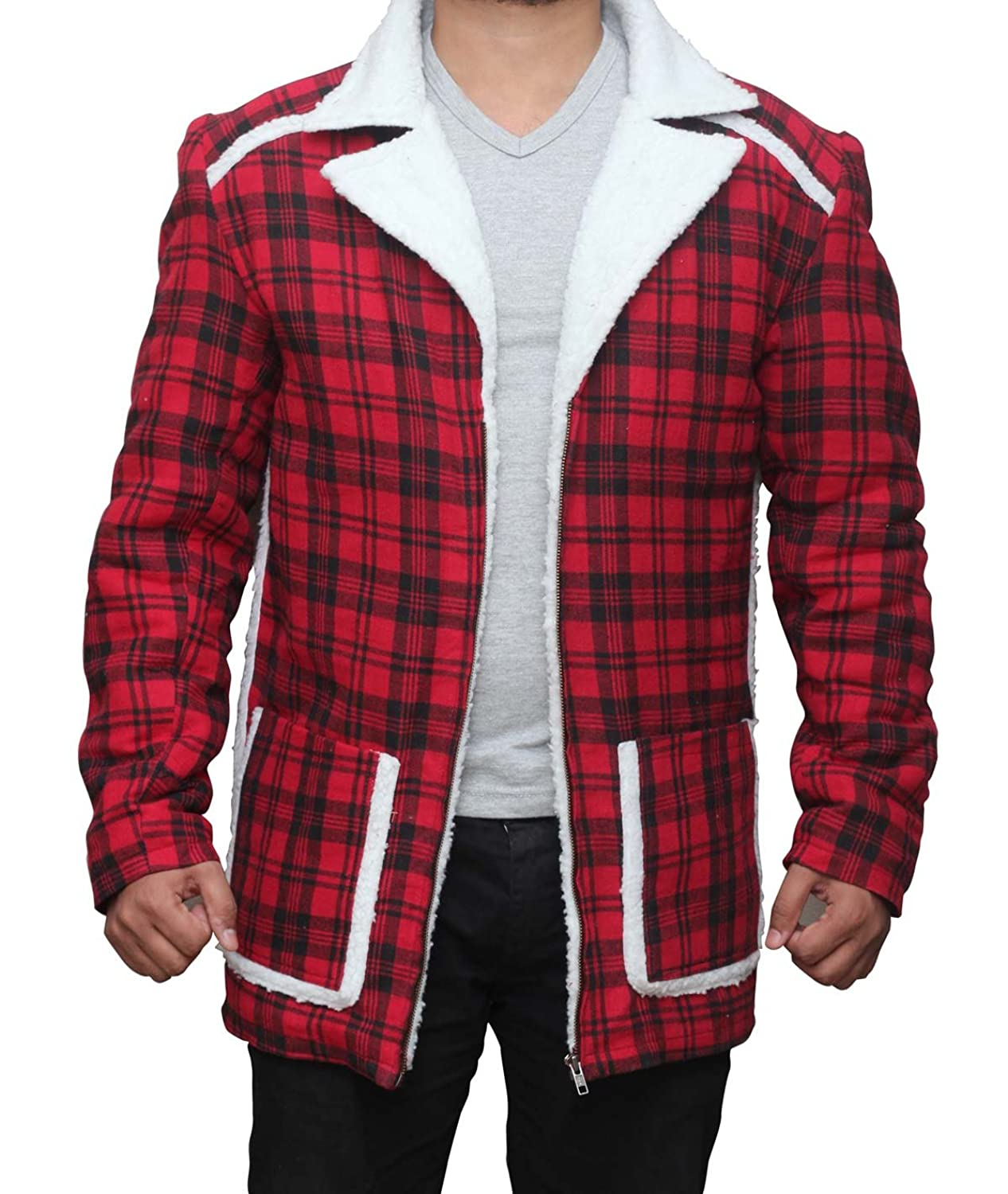 Deadpool Ryan Reynolds Red cotton flannel Shearling Jacket at
