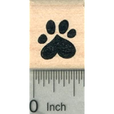 Small Heart Paw Print Rubber Stamp, Dog, Cat Valentine Series .5 inch Wide: Arts, Crafts & Sewing