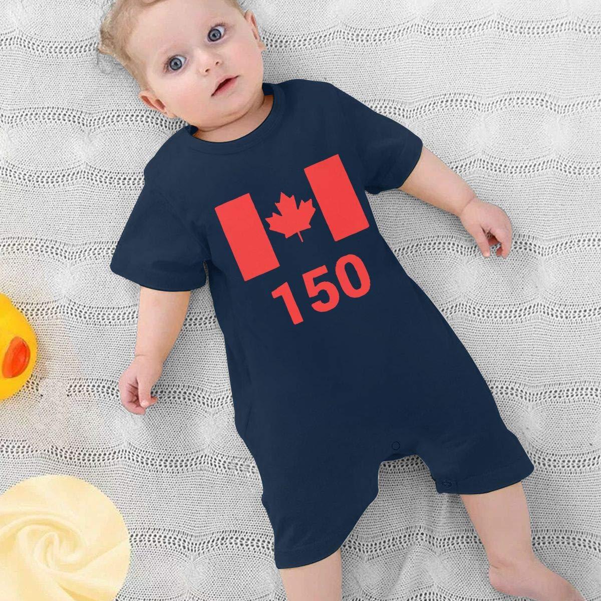 UGFGF/&3 Canada 150 Newborn Baby Short Sleeve Bodysuit Organic Coverall 0-24 Months