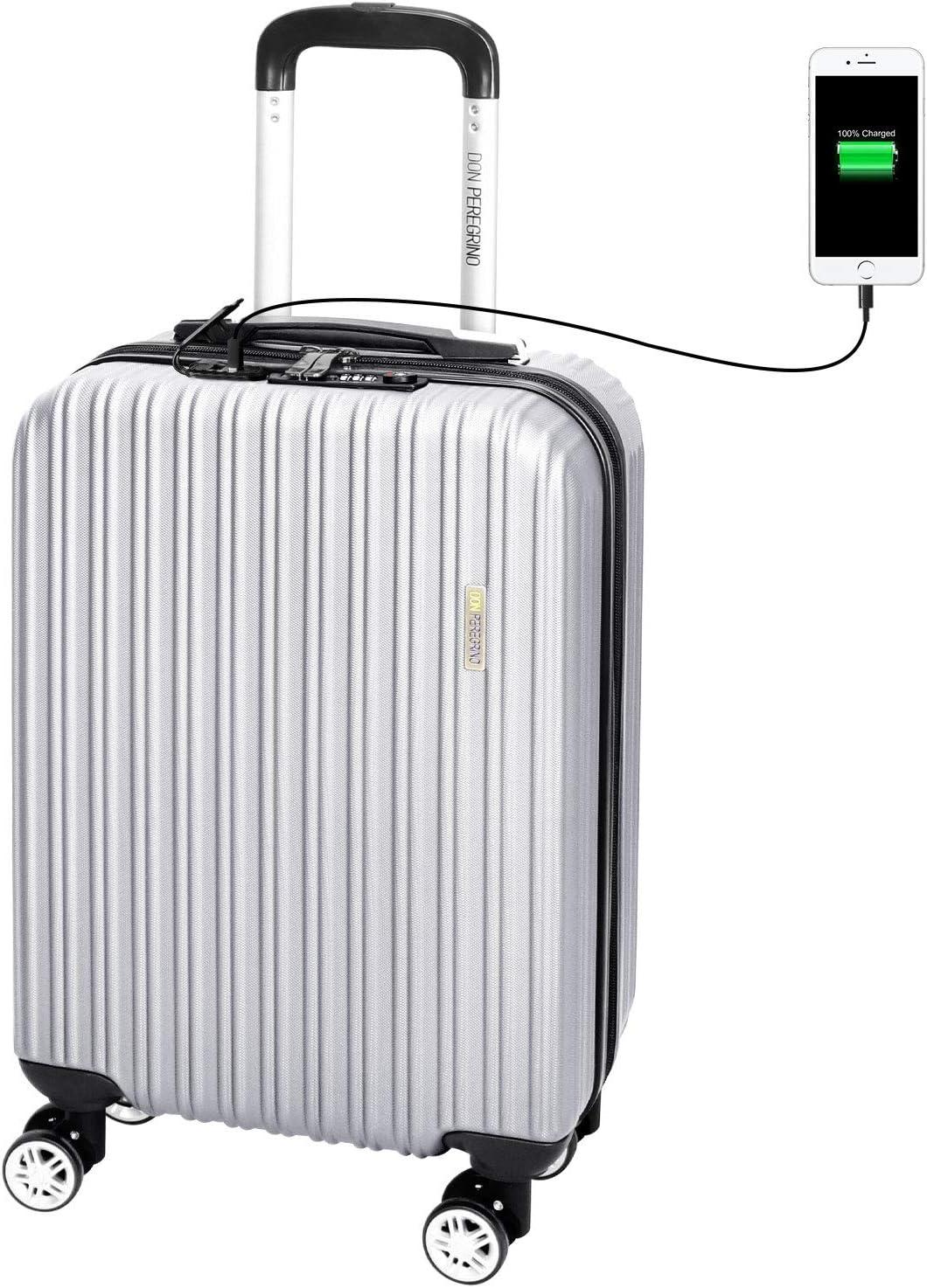 DONPEREGRINO 55cm Maleta Cabina Avión con Candado TSA y USB de Carga, Maleta de Viaje Equipaje de Mano Full Forrada con 4 Doble-Ruedas 360° Giratorias