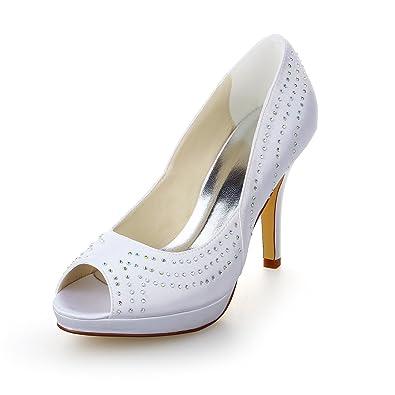JIA JIA Chaussures de Mariée pour Femme 40917 Peep Toe Talon Aiguille Volants Pompes à Tache Strass Chaussures de Mariage Couleur Blanc, Taille 35 EU