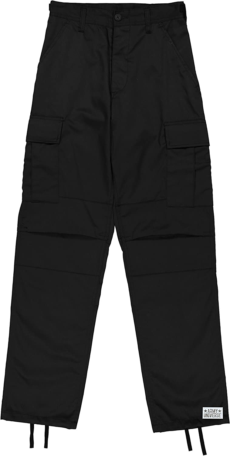 Mens Black Poly/Cotton Military Army Fatigues Work Utility Uniform Cargo BDU Pants with Pin