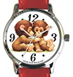 """Save Our Wildlife"" Large Polished Chrome Watch with Red Leather Strap has a ""Chimp Twins"" image and Donation to the African Wildlife Foundation"