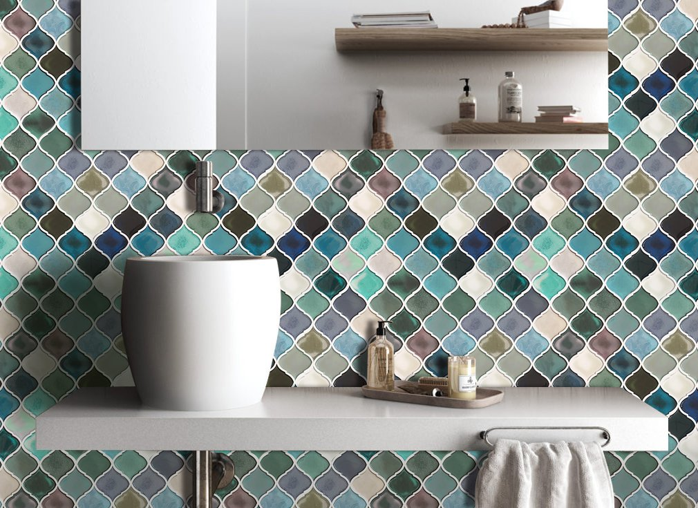 self adhesive tiles peel and stick tile backsplash for kitchen bathroom teal diy 737123303908 ebay. Black Bedroom Furniture Sets. Home Design Ideas