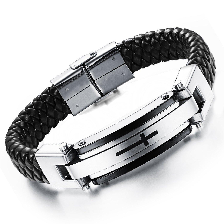 MENDINO Mens Stainless Steel Cross Braide Leather Bracelets Cuff Banglel Inch 8.5' MENDINO Mens Stainless Steel Cross Braide Leather Bracelets Cuff Banglel Inch 8.5 JBR0149SI