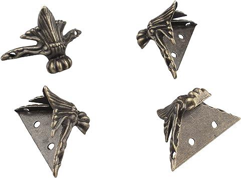 HALJIA 4 piezas de bronce antiguo caja patas patas esquina protector metal hardware decorativo retro joyería caja de regalo madera caso vintage: Amazon.es: Bricolaje y herramientas