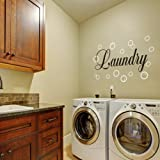 Vinyl Laundry Room Wall Quote Bubble Wall Decal Wall Sticker Wall Graphic Wall Mural Laundry Room Art Decoration B(bubbles:White;words:Black)