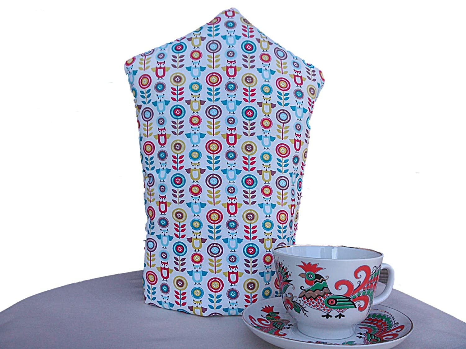 KAKIA DESIGNS UK Owls Red Blue and yellow Floral Cotton Cafetiere Cosy Coffee Pot Warmer Jacket