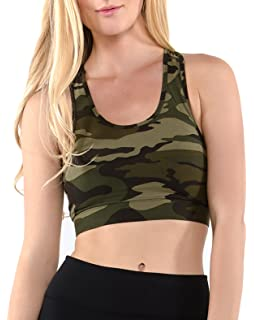 5fa955c184 Vibrant Vixen Women s Yoga Sports Tank-Top and Bra with Removable Pads  Camouflage Print Workout
