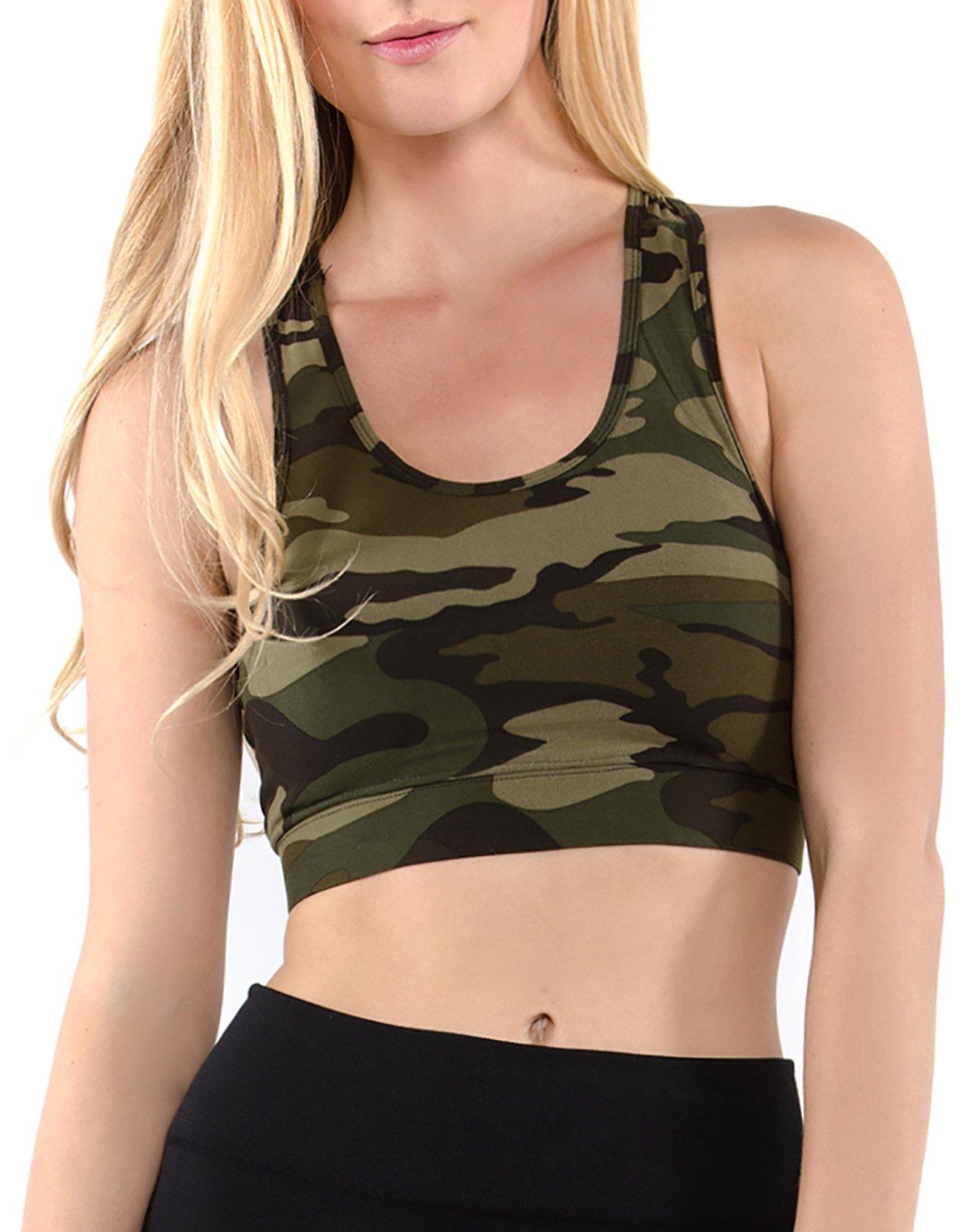 Vibrant Vixen Women's Yoga Sports Bra with Removable Pads Camouflage Print Workout Top (VBCM-Green, L/XL)