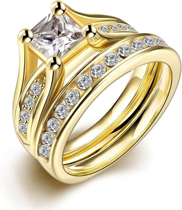 Set de anillos ZUMUii Butterme de titanio 316l dorado con solitario corte princesa de circonio, anillos de compromiso, set de anillos de boda para hombre y mujer tamaño 6-9, color amarillo, tamaño #7