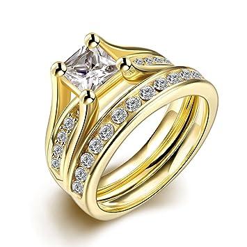 Set de anillos ZUMUii Butterme de titanio 316l dorado con solitario corte princesa de circonio,