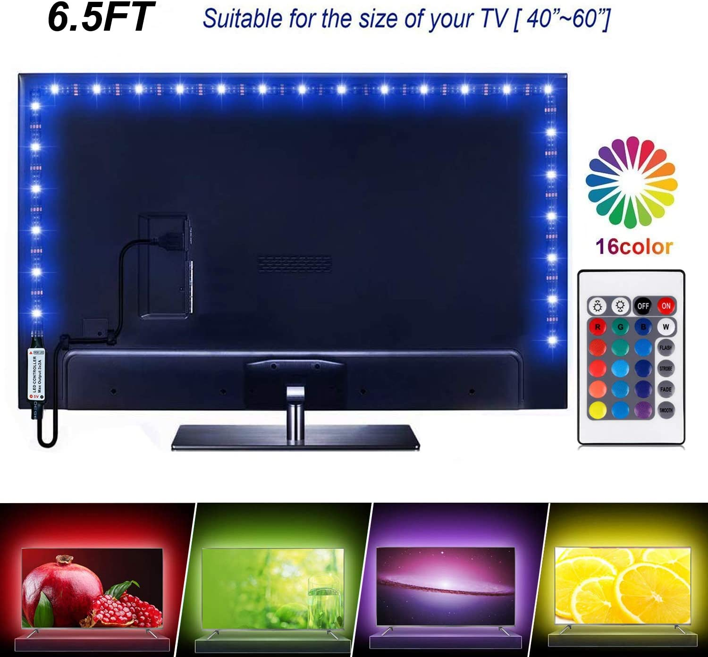 Tira de luces LED de 6.56 pies para TV de 40 a 60 pulgadas, 16 luces LED que cambian de color 5050 para HDTV, kit de retroiluminación LED USB para TV con