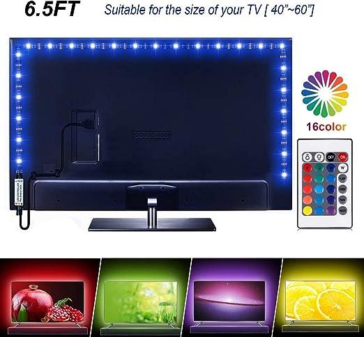 Tira de luces LED de 6.56 pies para TV de 40 a 60 pulgadas, 16 luces