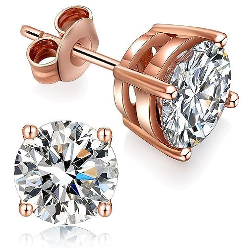 18545e3b9 CZ Diamond Stud Earrings,Sterling Silver 4mm Stud Earrings,Round Cut Cubic  Zirconia Stud
