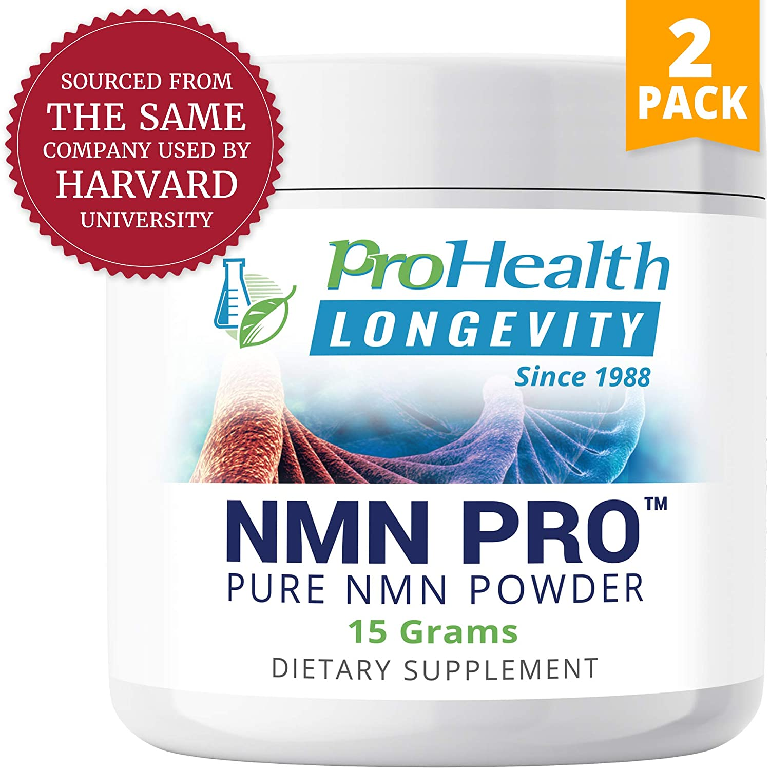 ProHealth NMN Powder 2-Pack (15 Grams per jar) Nicotinamide Mononucleotide | NAD+ Precursor | Supports Anti-Aging, Longevity and Energy | Non-GMO