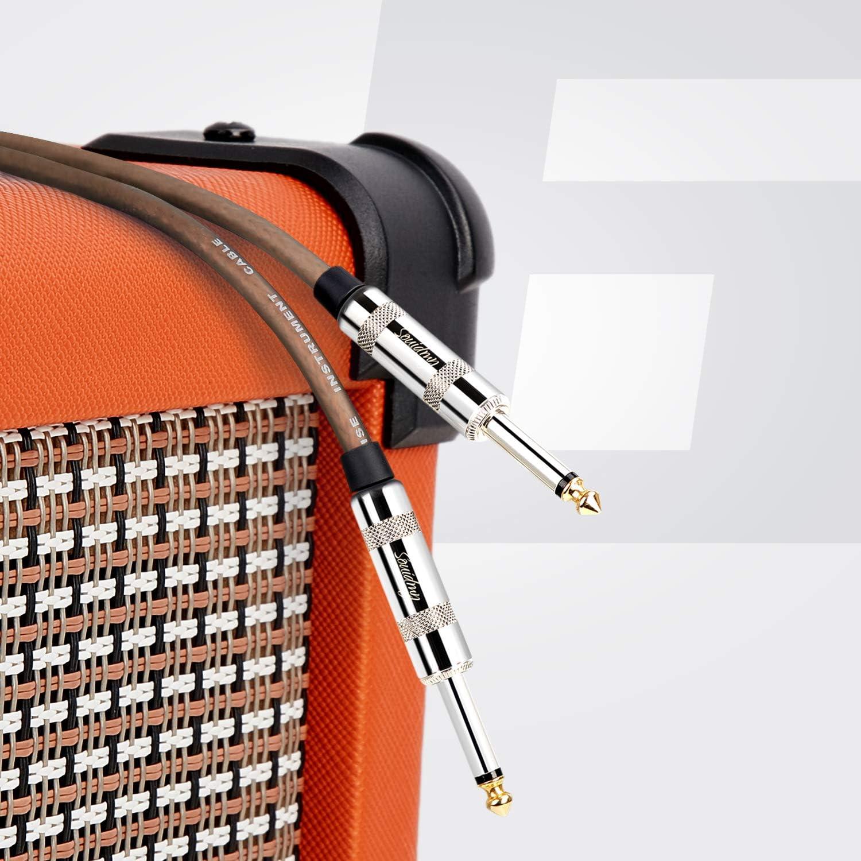 Basso Elettrico e Amplificatore Cavo per Chitarra Elettrica Souidmy Cavo Jack 6.35mm Stereo Professionale Tripla Schermatura 3M Guaina in PVC Satinato Traslucido Marrone