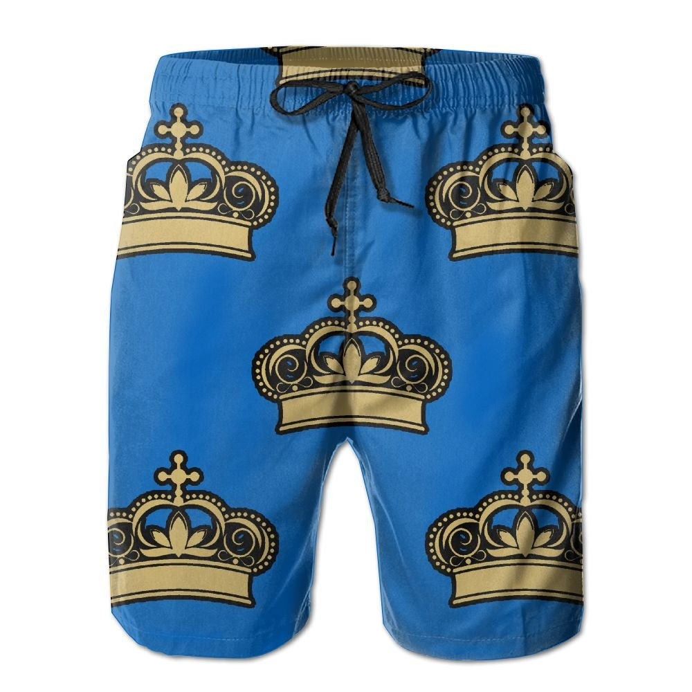 d1eb35eb11 Royal Crowns - Gold On Purple Men's Swim Trunks Quick Dry Beach Shorts  Beach Surfing Running