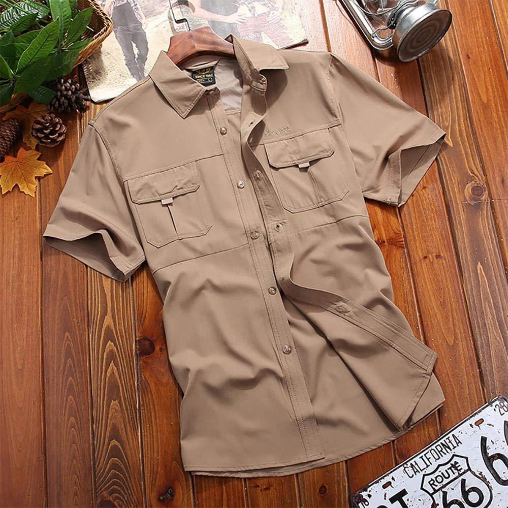 Protect Short Sleeve Shirt for Hiking Camping Fishing Camping Shirts #5053 Mens Quick Dry Sun UV 50