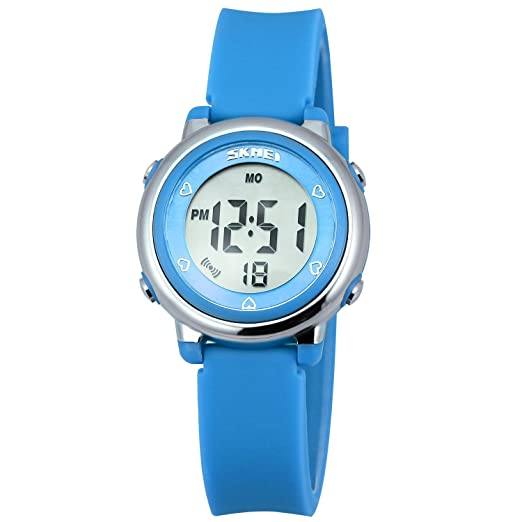 Relojes deportivos digitales para niñas Zeiger KW028 AZUL Reloj Niñas Reloj deportivo impermeable 5 ATM con cronómetro de alarma 6 luces traseras LED Reloj ...