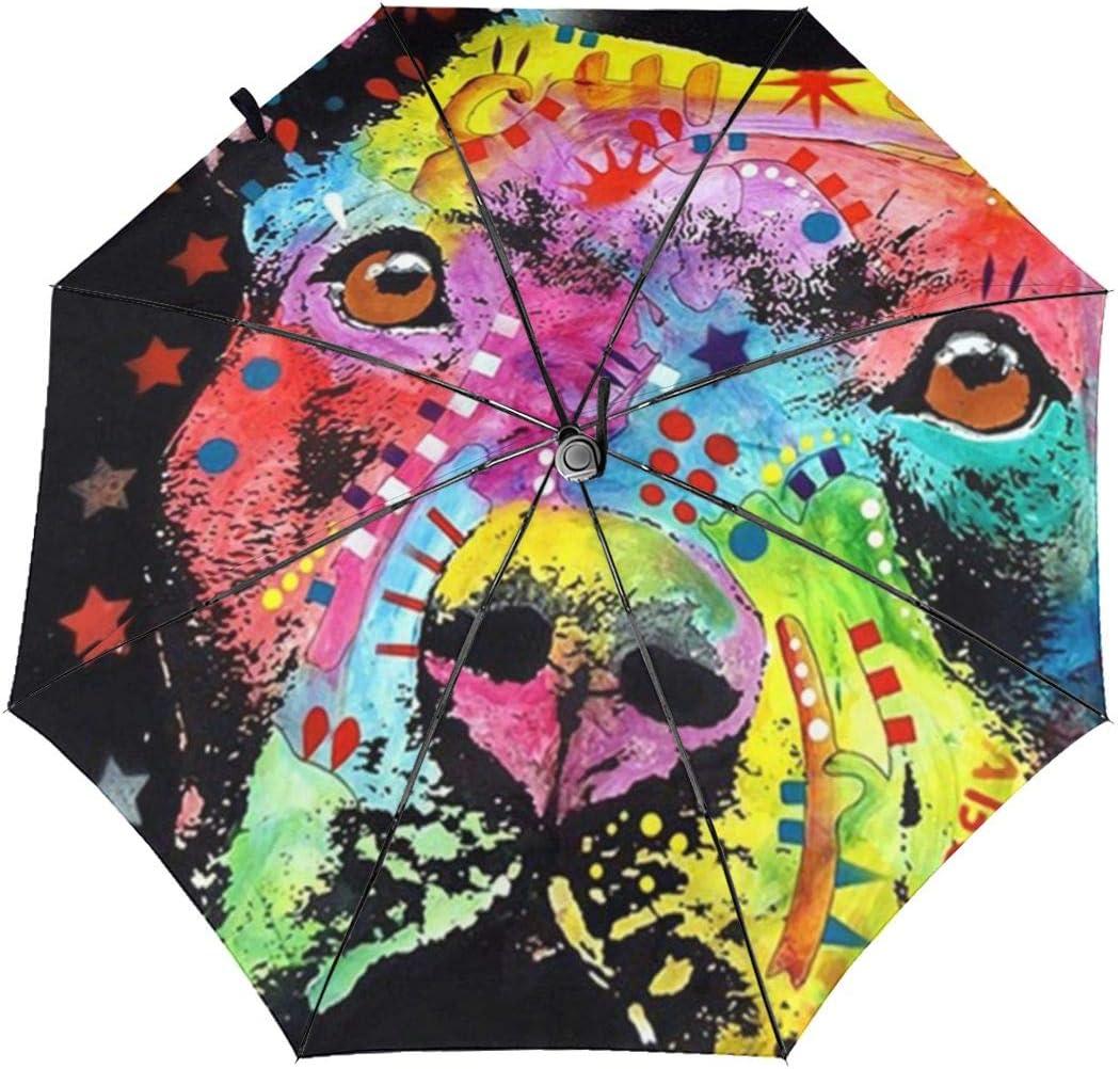 Maltese German Shepherd Colorful Windproof Automatic Tri-Fold Foldable Umbrella Cartoon UV Protection Travel Unbreakable Compact Portable Sun Rain Umbrella