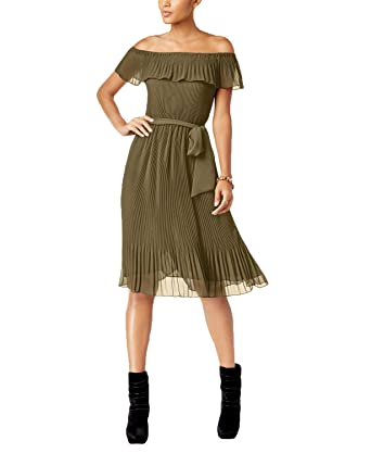 eed83c9bad6 MICHAEL Michael Kors Pleated Off-The-Shoulder Dress (Safari Green ...